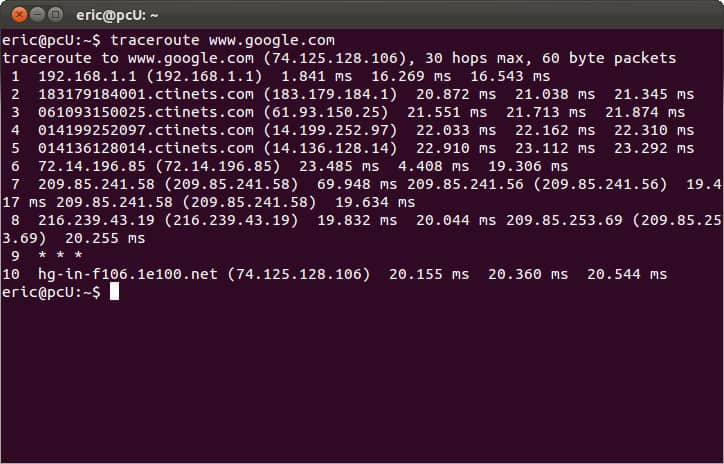 Ang prompt ng Linux CMD - traceroute tracert