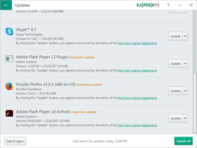 Kaspersky Software Updateater - listahan ng screenshot
