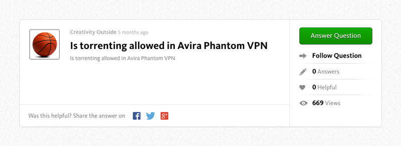 Avira Phantom VPN Torrenting