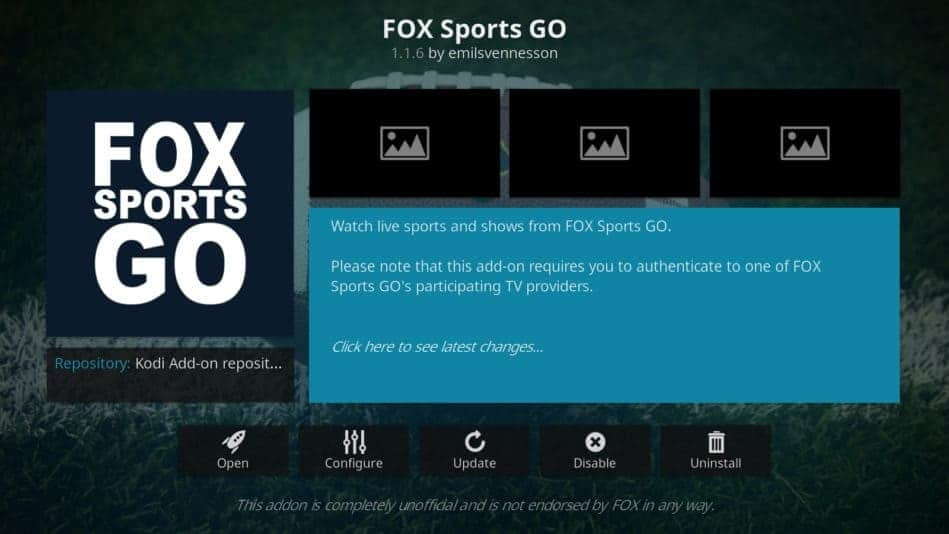 Fox Sports Go Kodi addon
