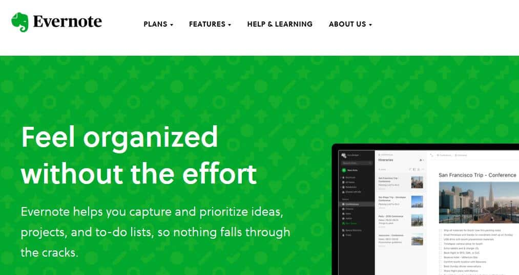 Evernote homepage.