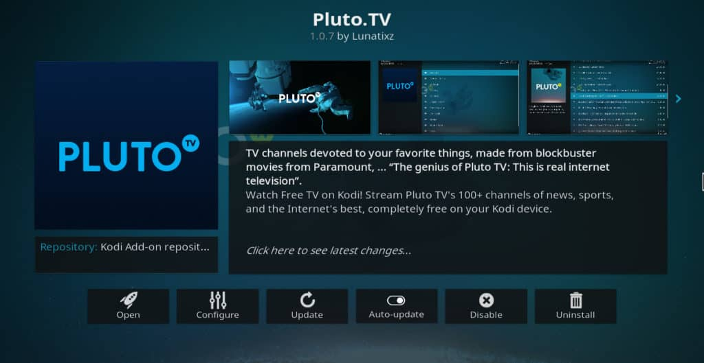 Pluto.tv Kodi addon impormasyon ng screen