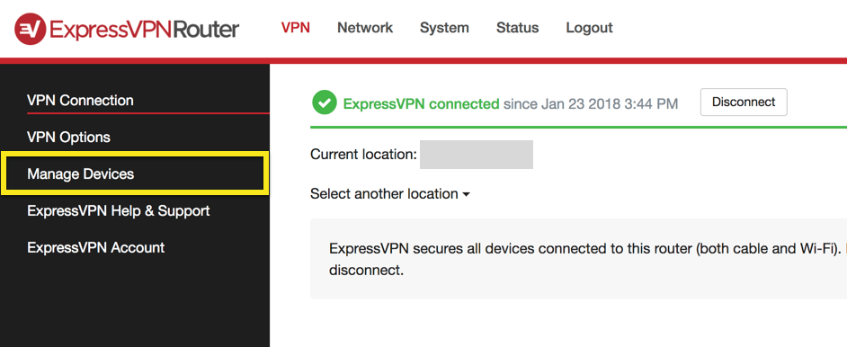 expressvpn router apparaten beheren