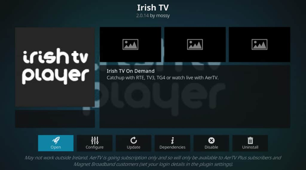 Irish TV player tour de france sa kodi