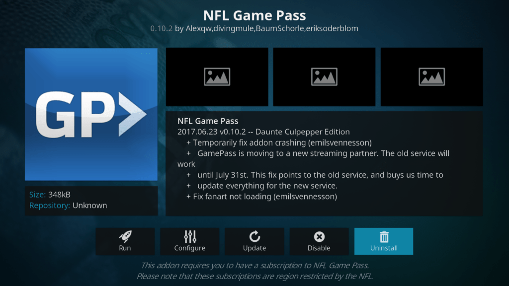 NFL Game Pass Kodi addon